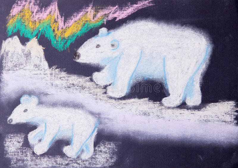 白熊的儿童图片 库存例证