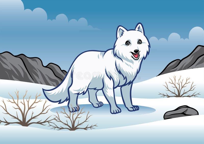 白狐在多雪的冬天 向量例证
