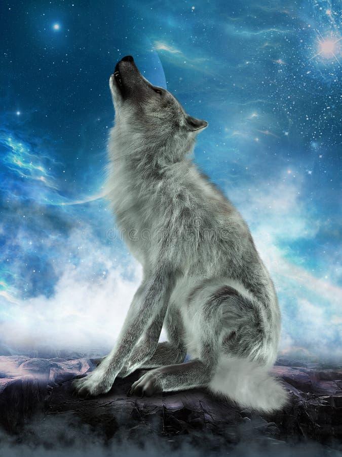 白狼嗥叫月亮例证 免版税库存照片