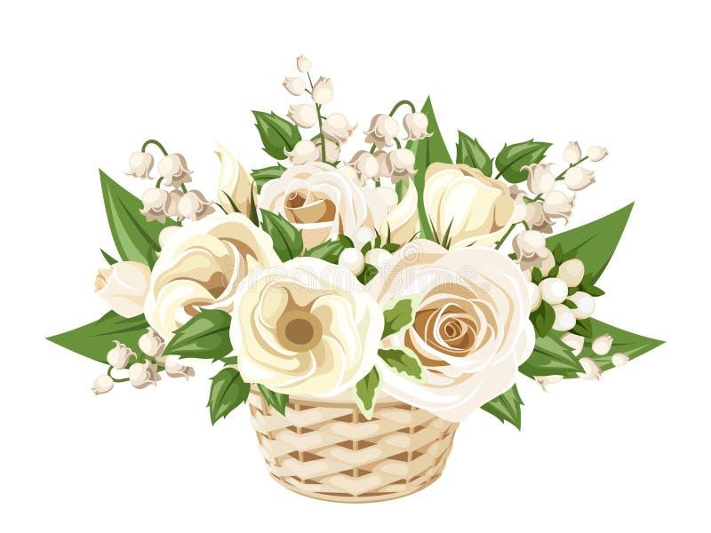白玫瑰、lisianthuses和铃兰在篮子 也corel凹道例证向量 皇族释放例证