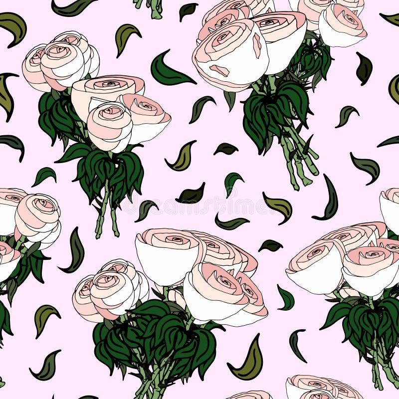 白玫瑰花束 向量例证