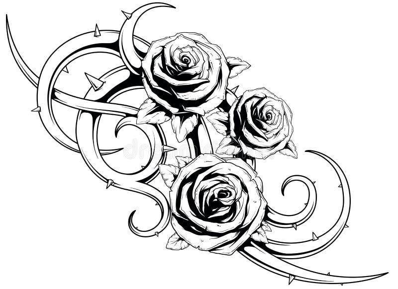 黑白玫瑰tatto 向量例证
