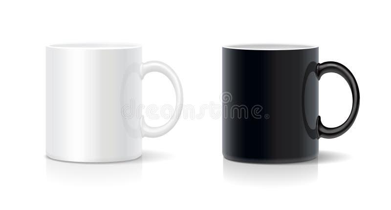黑白的咖啡杯 向量 向量例证