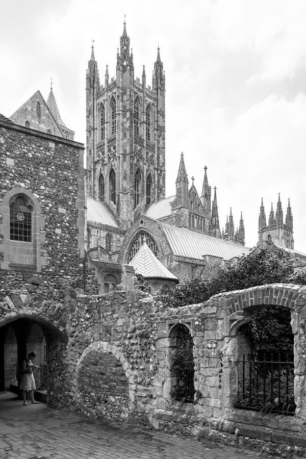 黑白的坎特伯雷大教堂 坎特伯雷,肯特, Engla 免版税库存图片