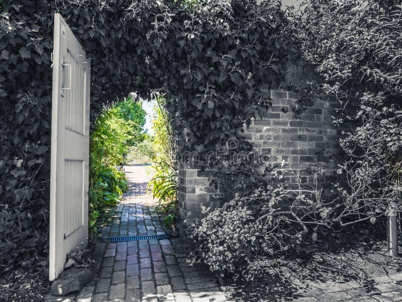 从黑白的庭院门道入口到颜色 库存图片