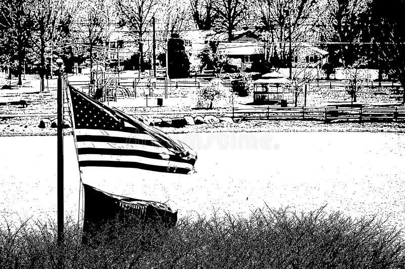 黑白的美国国旗 库存例证