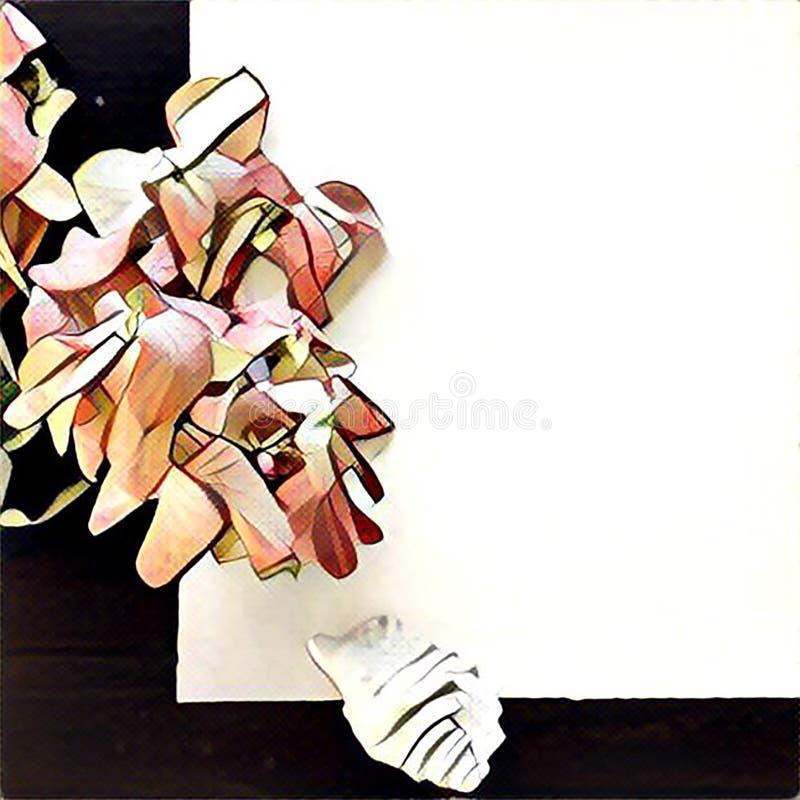 白皮书块和花卉背景的数字式例证与地方文本的 库存例证