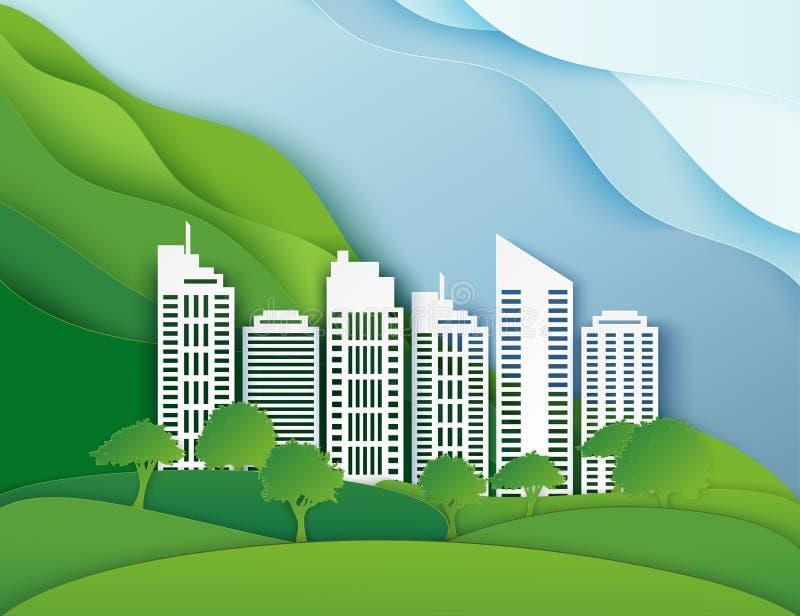 白皮书摩天大楼和树 向量例证