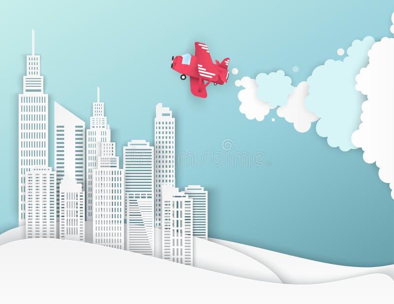 白皮书摩天大楼和飞机在天空 向量例证