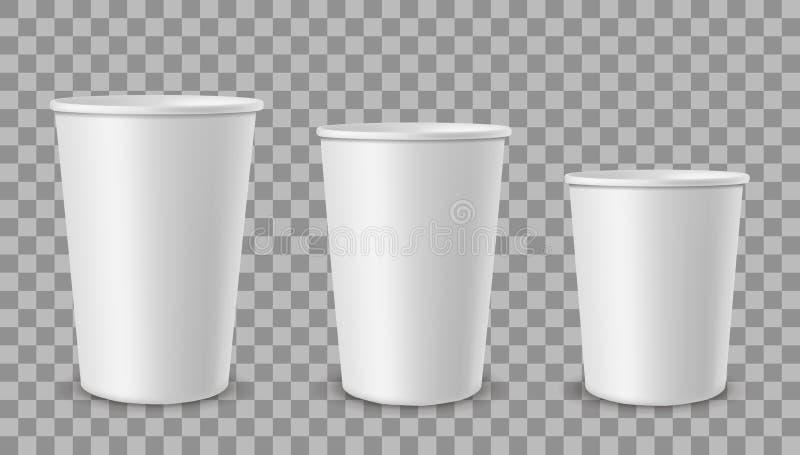 白皮书杯子 饮料的杯,柠檬水汁咖啡茶在另外大小的冰淇淋容器 现实空的3d 库存例证
