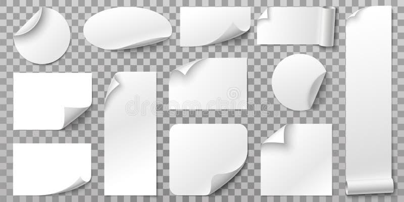 白皮书贴纸 与卷曲的角落、曲线纸的边缘和空白的标记3D传染媒介集合的标签胶粘物 皇族释放例证