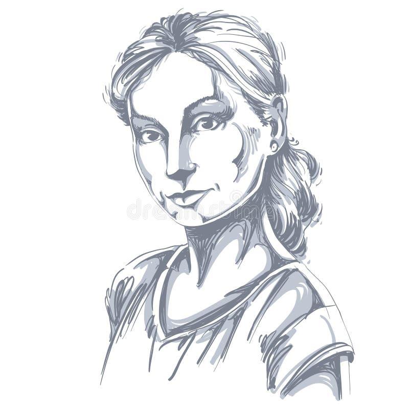 白皮肤浪漫妇女,面孔emoti手拉的艺术画象  向量例证