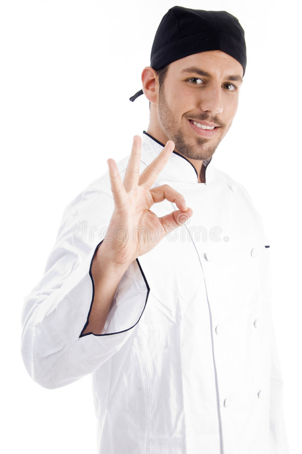 白种人主厨姿态现有量好的陈列 免版税库存图片