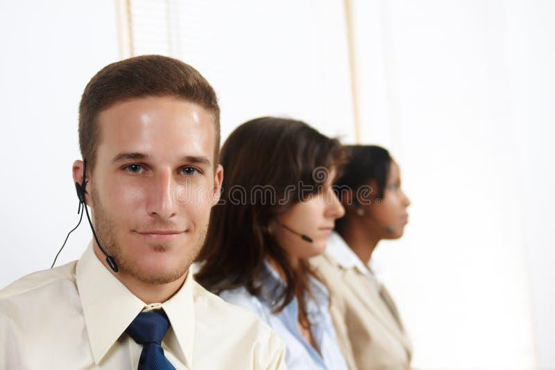 白种人人电话推销员 免版税库存照片