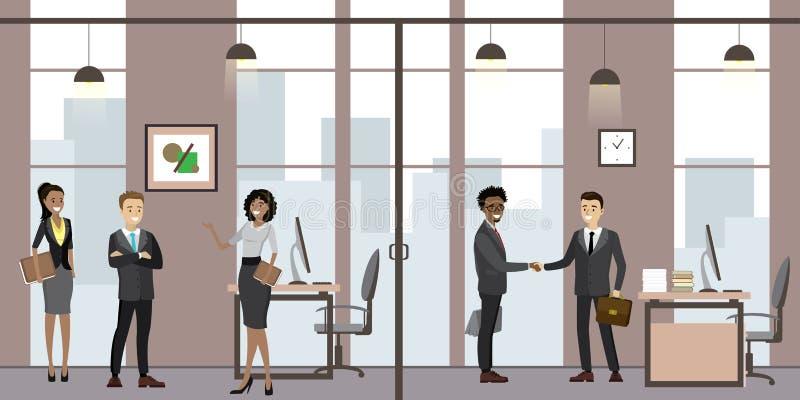 白种人商人在现代办公室,动画片办公室经理在工作场所 库存例证