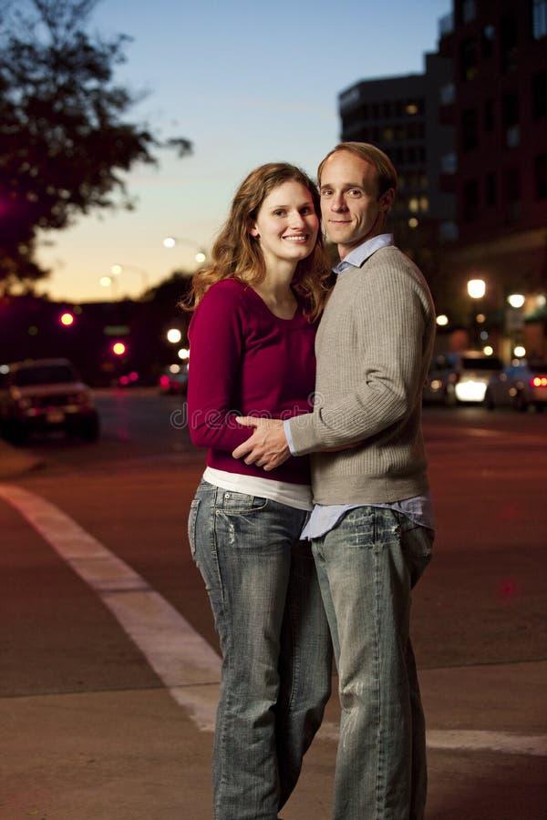 白种人夫妇街道 图库摄影