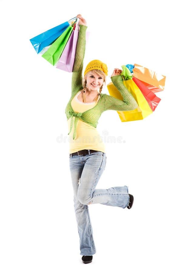 白种人女孩购物 库存照片
