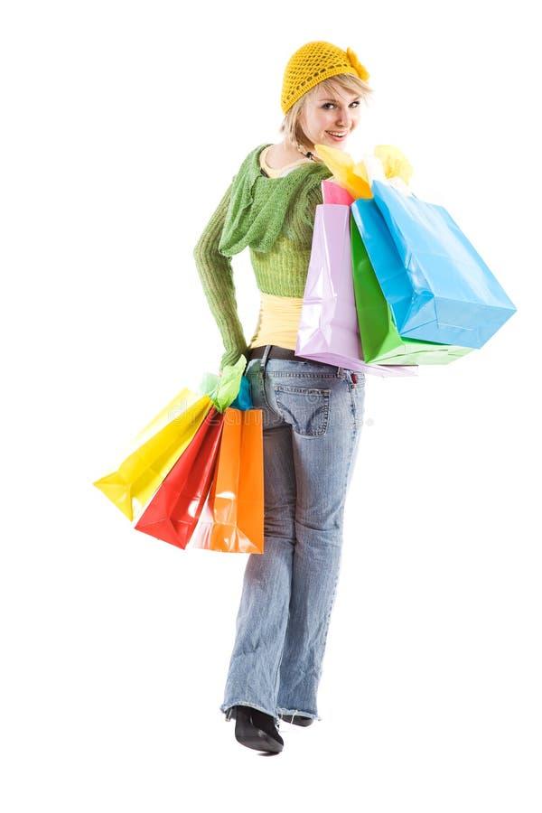 白种人女孩购物 库存图片