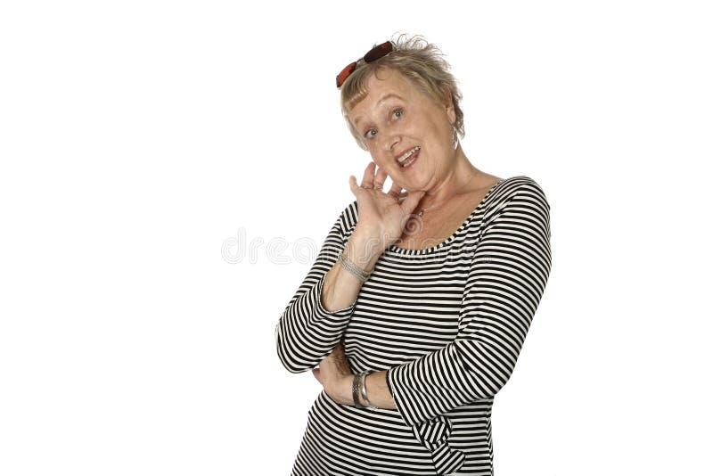 白种人女性愉快的前辈 免版税库存图片