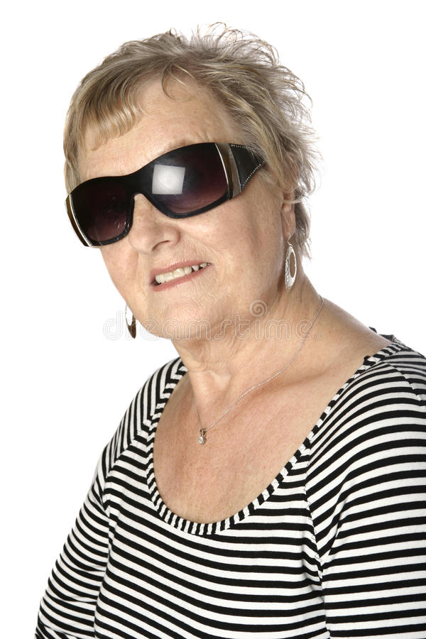 白种人女性高级有条纹的顶层 库存图片