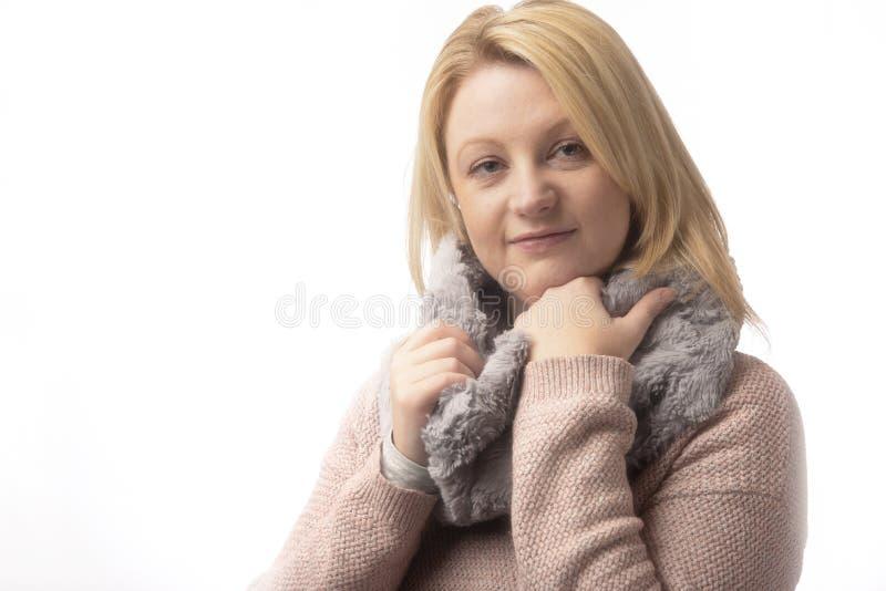 白种人妇女在白色背景的二十 免版税库存照片