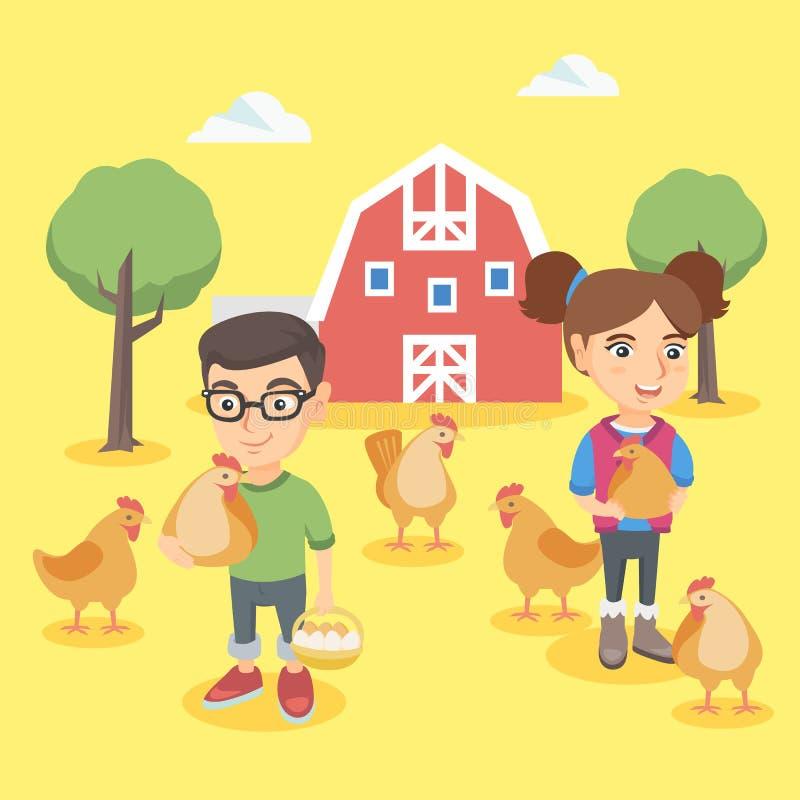 白种人拿着鸡和鸡蛋的男孩和女孩 向量例证