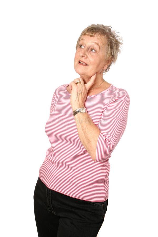 白种人深刻的女性成熟想法 免版税图库摄影