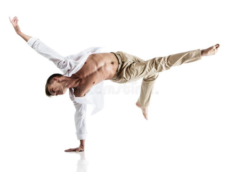 白种人男性舞蹈家 免版税库存照片