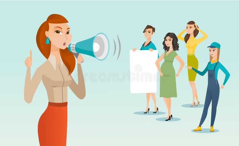 白种人白色女权呼喊入扩音器 向量例证