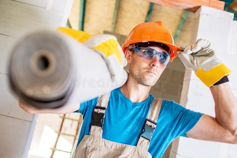白种人建筑工人 免版税库存图片