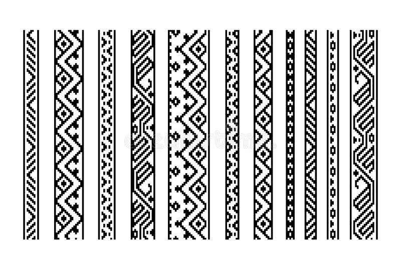 黑白种族几何阿兹台克无缝的边界设置,导航 向量例证
