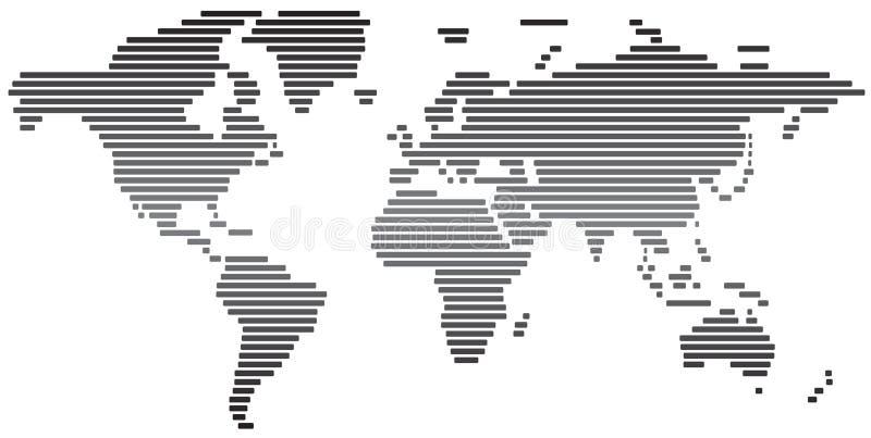 黑白简单的抽象的世界地图 库存例证