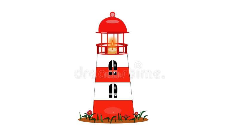 白红色灯塔隔绝与船的火光 库存例证