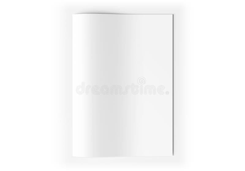 A4白纸在白色3D翻译的板料大模型 库存例证