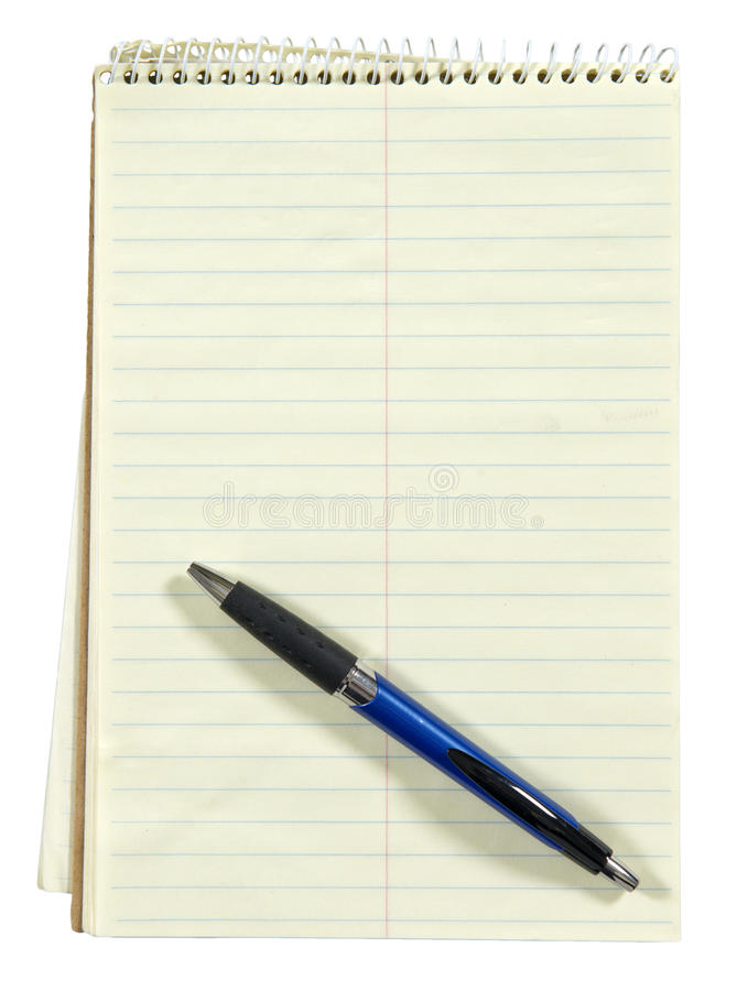 白纸笔记本和笔,查出在白色 免版税库存图片