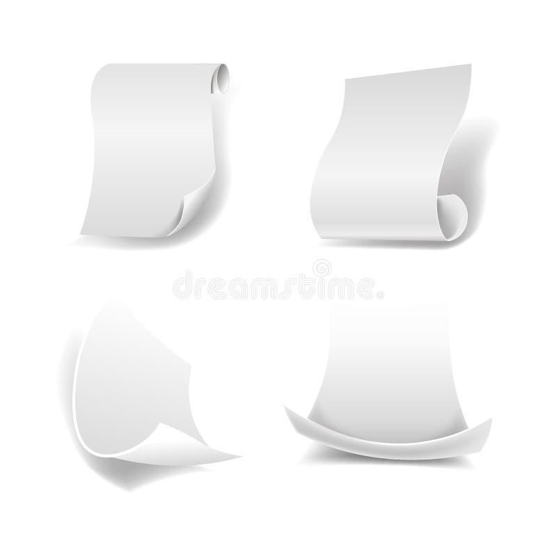 白纸覆盖与卷曲的边缘和光滑的表面 皇族释放例证