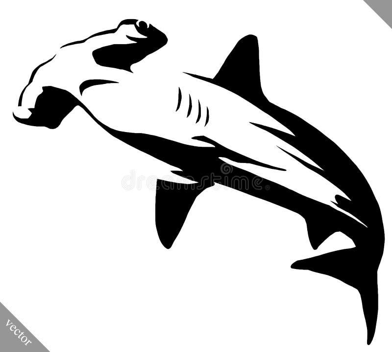 黑白线性油漆凹道双髻鲛例证 向量例证