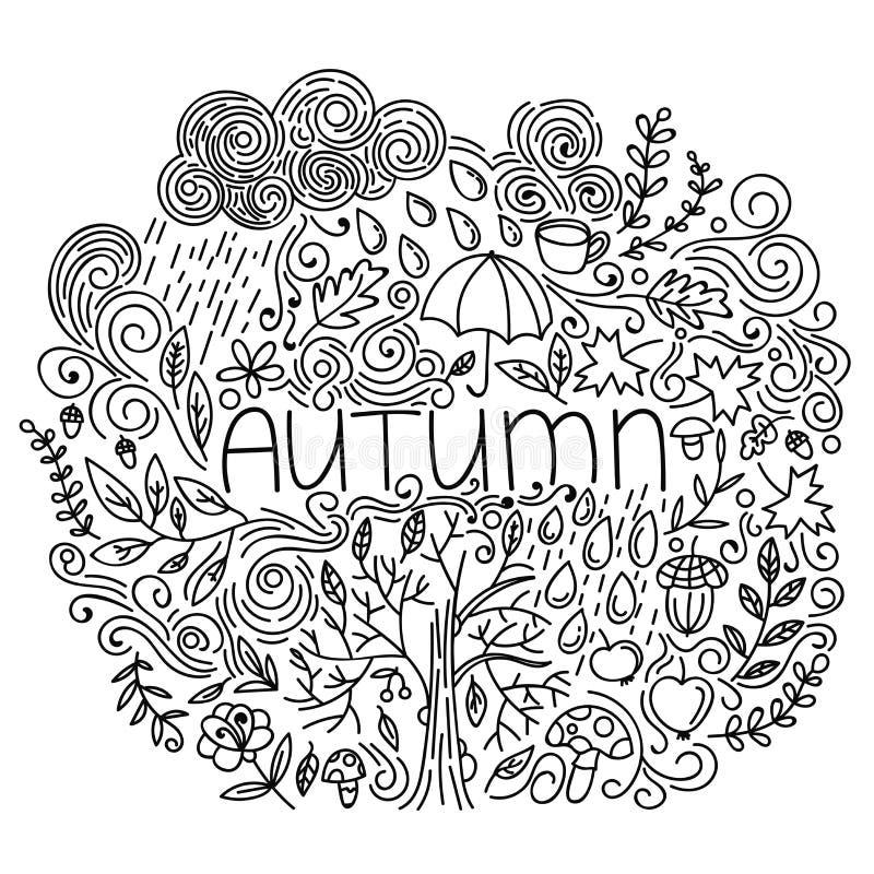 黑白线性秋天季节性明信片 稀薄的线乱画与词秋天,花卉元素,雨,云彩,树秋天的秋天卡片 向量例证