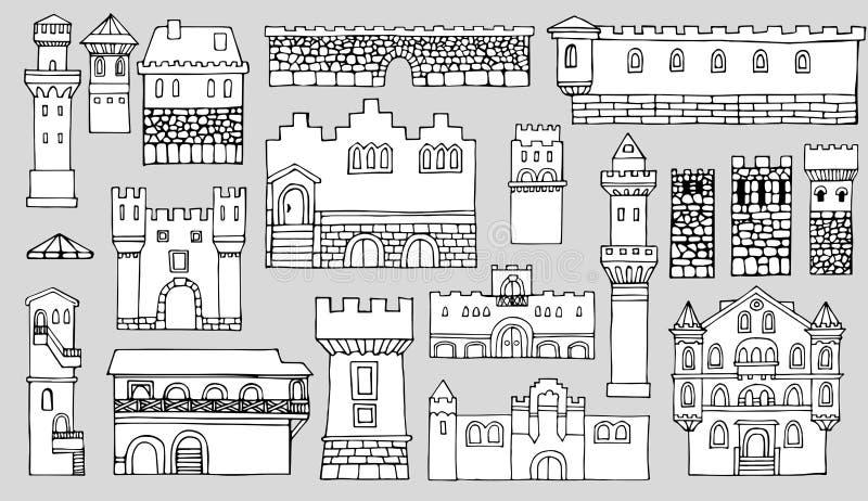 黑白线描,都市风景建筑元素v