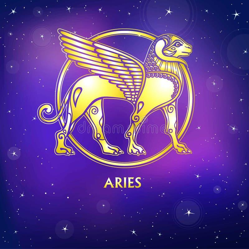 白羊星座例证符号向量黄道带 苏美尔人的神话字符  金模仿 向量例证
