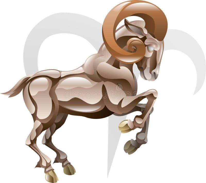 白羊星座公羊符号星形 向量例证