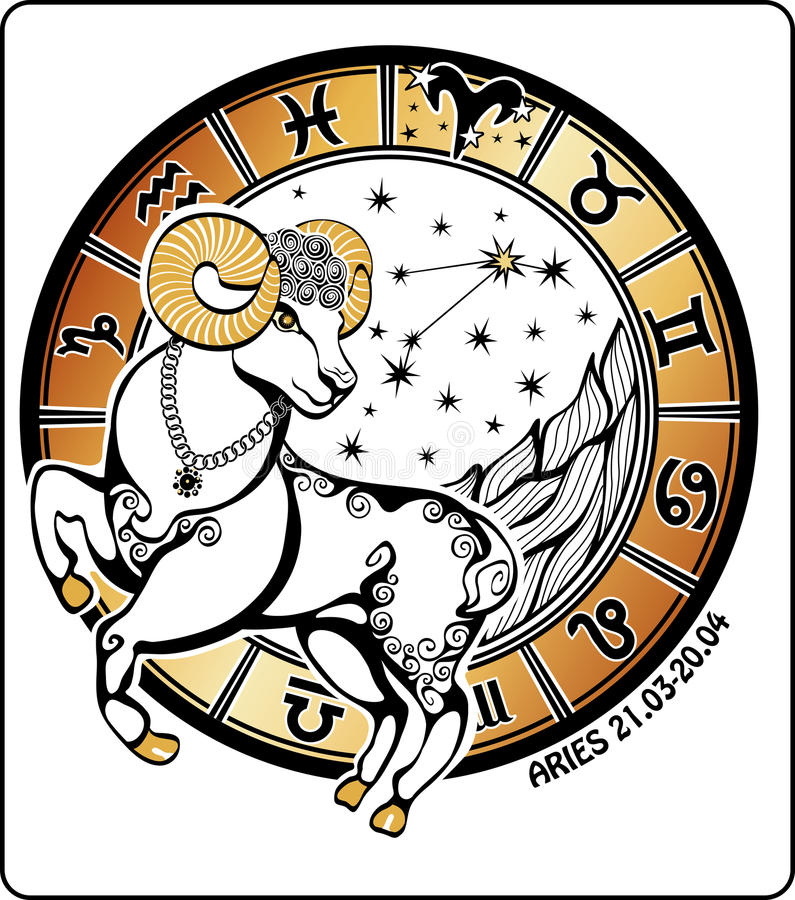 白羊星座和黄道带标志。占星圈子。传染媒介 皇族释放例证