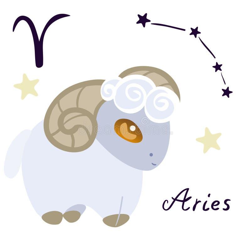 白羊星座黄道带在动画片在白色背景传染媒介图象的样式孤立签字 皇族释放例证
