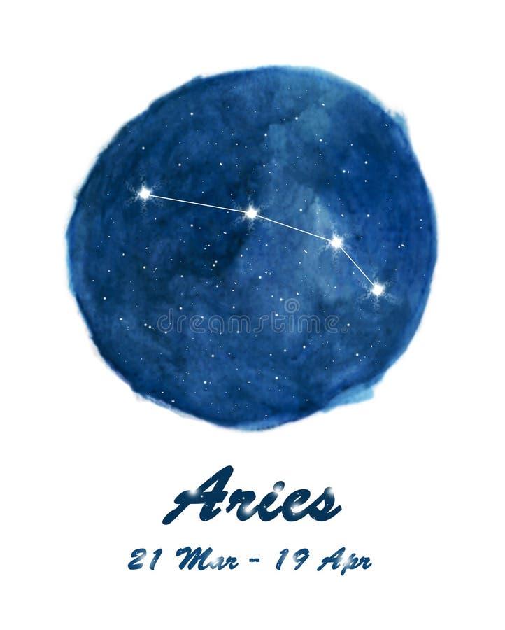 白羊星座黄道带宇宙星空间的标志白羊星座星座象  在圈子背景里面的蓝色繁星之夜天空 免版税库存照片