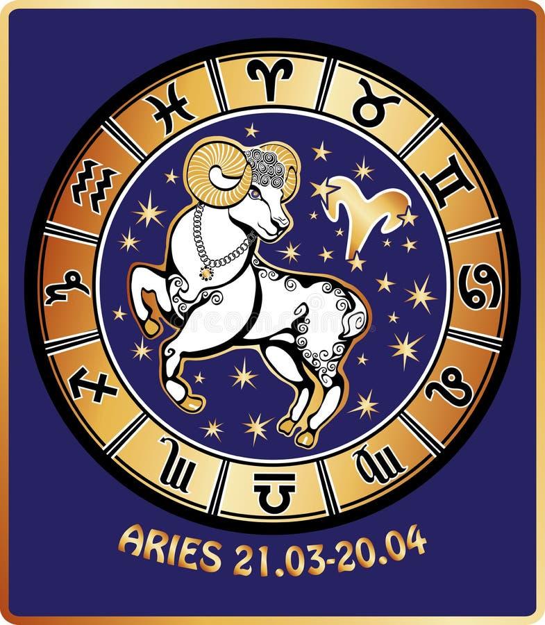 白羊星座黄道带标志。占星圈子。减速火箭的Illustrat 库存例证