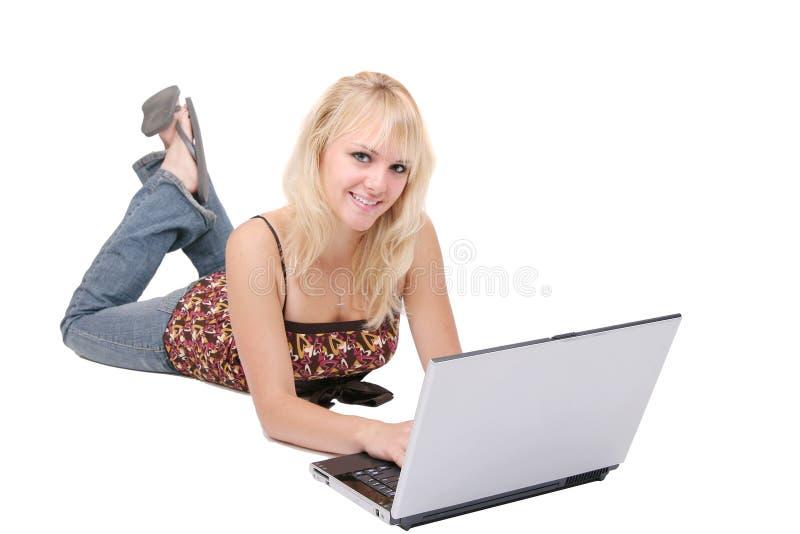 白肤金发女大学生学习 库存图片