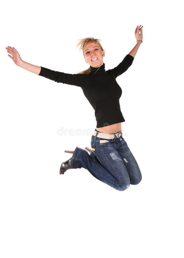 白肤金发女孩跳 库存图片