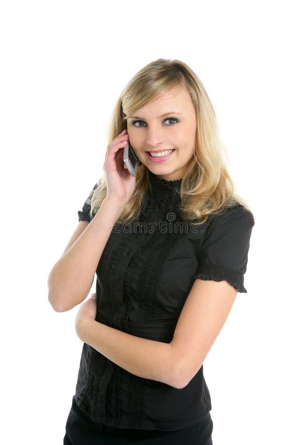 白肤金发女实业家移动电话联系 库存图片