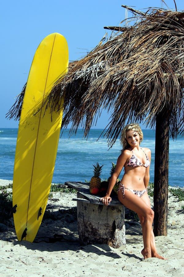 白肤金发海滩的比基尼泳装 免版税图库摄影
