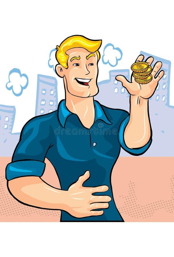 白肤金发的人英俊与硬币 向量例证